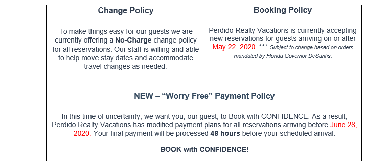 Perdido Realty COVID policy updates